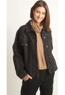 Jaqueta Le Lis Blanc Black Tachas Jeans Preto Feminina (Jeans Black, M)