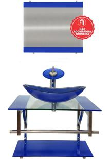 Gabinete De Vidro 60Cm Para Banheiro Sérvia Azul Escuro Ekasa