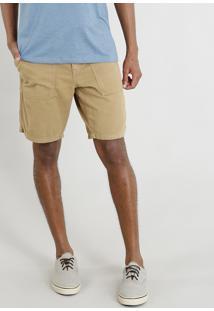 Bermuda De Sarja Masculina Com Cordão E Bolsos Caramelo
