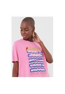 Camiseta Cantão Boyfriend Groove Rosa