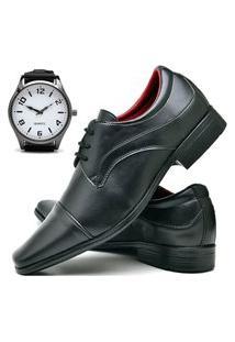 Sapato Social Fashion Com Relógio New Dubuy 832El Preto
