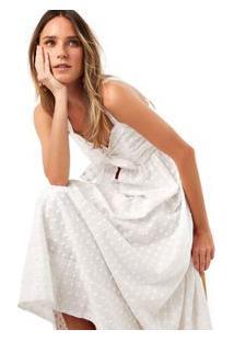 Vestido No Frente Maquinetado Pois Branco