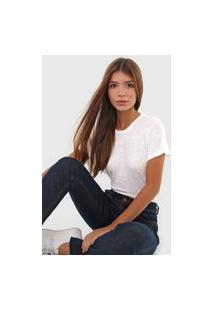 Camiseta Linho Polo Ralph Lauren Flamê Off-White