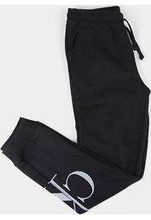 Calça Moletom Juvenil Calvin Klein Circular Com Punho Reat Masculina - Masculino-Preto