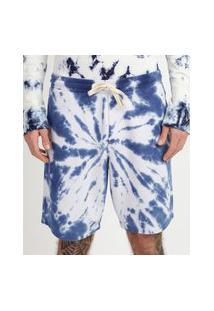 Bermuda De Moletom Masculina Relaxed Estampada Tie Dye Azul