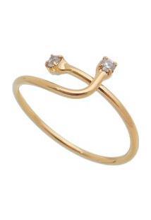 Anel Com Cristal Banhado A Ouro- Incolor & Dourado- Carolina Alcaide