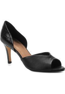 Peep Toe Couro Shoestock Salto Fino Mix Croco - Feminino-Preto