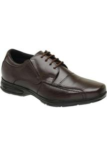 Sapato Social Masculino Couro Cadarço Liso Bico Quadrado - Masculino-Café