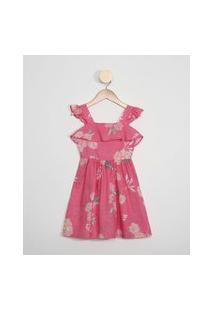 Vestido Infantil Estampado Floral Alça Larga Com Babado Decote Redondo Rosa