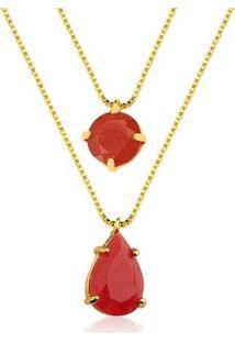 Colar Toque De Joia Pedras Jade Vermelha - Feminino-Dourado