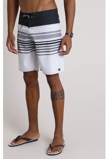 Bermuda Surf Masculina Listrada Com Bolso E Cordão Preta