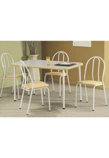 Conjunto De Mesa Com 4 Cadeiras Cristal Branco E Bege