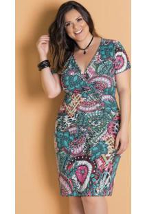 Vestido Midi Transpassado Mandalas Plus Size
