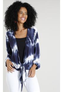 Kimono Feminino Curto Estampado Tie Dye Com Nó Azul Marinho