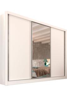 Guarda-Roupa Casal Com Espelho Siena 3 Pt Branco