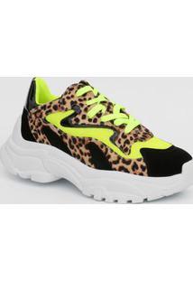 Tênis Feminino Chunky Sneaker Neon Animal Print Zatz