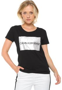 Camiseta Calvin Klein Jeans Lettering Preta