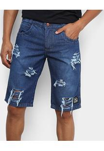 Bermuda Jeans Cyclone Destroyed Masculina - Masculino-Jeans