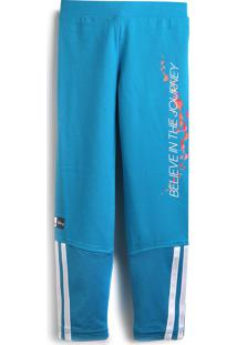 Calça Adidas Performance Menina Lettering Azul
