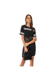 T-Shirt Morena Rosa Dress Com Silk Preto
