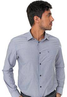 Camisa Vr Reta Listrada Azul/Branca