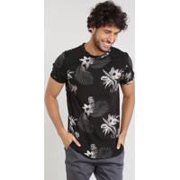 1b4125abf4 Camiseta Masculina Slim Fit Estampada Floral Manga Curta Gola Careca Preta