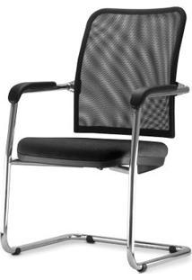 Cadeira Soul Assento Em Courissimo Preto Base Fixa Cromada - 54254 Sun House