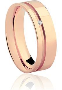 Aliança Noiva 6 Mm Ouro Rosé E Diamante