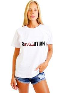 Camiseta Joss Feminina Estampada Revolution - Feminino-Branco