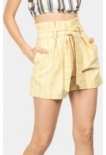 Shorts Cintura Alta Listrado Amarelo Caramelo - Lez A Lez
