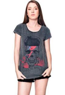 Camiseta Estonada Skull Bowie Useliverpool Feminina - Feminino-Preto