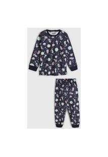 Pijama Fakini Longo Infantil Astronauta Azul-Marinho