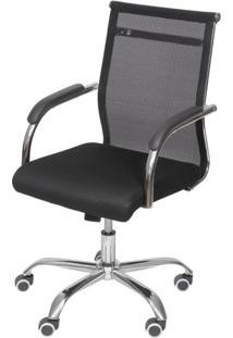Cadeira Escritorio Basic Baixa Tela Preta Com Base Cromada - 50032 - Sun House
