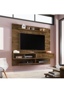 Painel Para Tv Até 65 Polegadas Búzios Flex Color Madeira Rústica E Madeira 3D