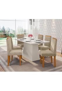 Conjunto De Mesa De Jantar Com Tampo De Vidro Bárbara E 6 Cadeiras Amanda I Animalle Off White E Cinza