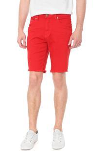 Bermuda Sarja Calvin Klein Jeans Reta Color Vermelha