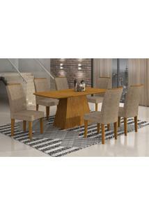 Conjunto De Mesa Lunara Iii Com 6 Cadeiras Suede Amassado Imbuia E Chocolate