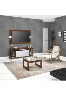 Rack Com Painel Para Tv Até 55 Polegadas Calmon Nogal E Branco 136 Cm