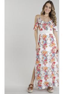 Vestido Longo Open Shoulder Estampado Floral Com Fendas Off White