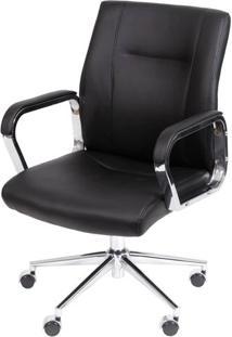 Cadeira De Escritorio Baixa Zodia Preta Base Cromada - 41779 - Sun House