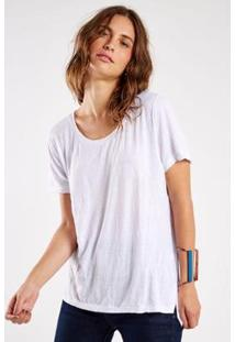 Camiseta Sacada Malha Básica Amassadinha Feminina - Feminino-Branco