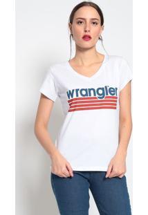 """Camiseta """"Wranglerâ®"""" Listrada- Branca & Vermelhawrangler"""