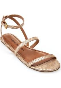 Sandalia Rasteira Tiras Retas Branco/Dourado