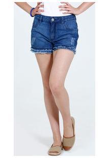 Short Juvenil Jeans Puídos Barra Desfiada Marisa