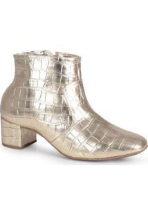 Ankle Boots Feminina Lara Clássico Dourado