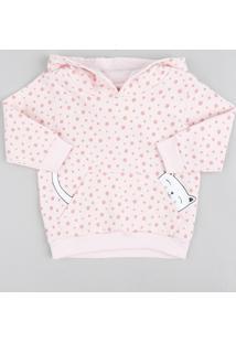 Blusão Infantil Estampado De Poá Em Moletom Felpado Com Capuz Rosa