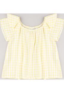 Blusa Infantil Estampada Xadrez Vichy Com Babado Manga Curta Amarela