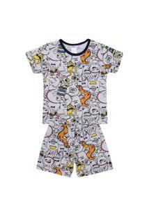 Conjunto Pijama Menino Em Meia Malha Branco Rotativo - Liga Nessa