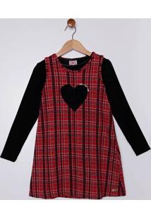 Vestido Com Blusa Infantil Para Menina - Vermelho/Preto