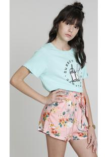 "Blusa Infantil Cropped Ampla Love Dress ""Summer Days"" Manga Curta Decote Redondo Verde Claro"